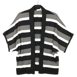Chico's Striped Open Front Cardigan Sweater
